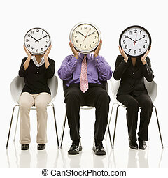 Time business concept. - Multi-ethnic business people...