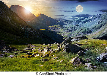 time change concept in Transfagarasan valley. rocks on...