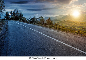 time change concept of countryside mountain road . lovely...