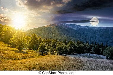 time change concept over the Apetska mountain - time change...