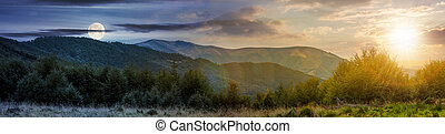 time change concept over the Carpathian mountains. panorama...