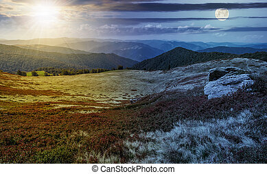 time change over stones on the edge of mountain hillside -...