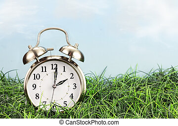 Time Change - Clock in grass. Daylight saving time concept.