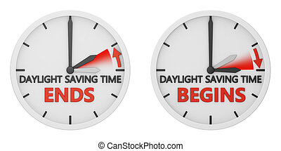 time change to daylight saving time on white background