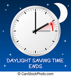 vector illustration of a clock return to standard time daylight saving time ends