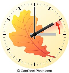 time change to standard time - vector illustration of a ...