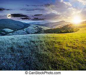 time changes over grassy meadow in mountains - time change...