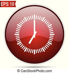 Time cherry red glossy round web vector icon. Editable ...