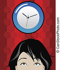 time - illustration of a woman checking time at office