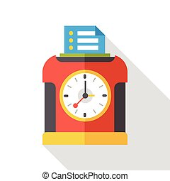 Time clock flat icon