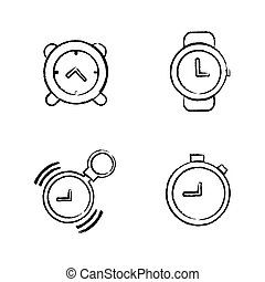 Time Clock Icons Set Draw