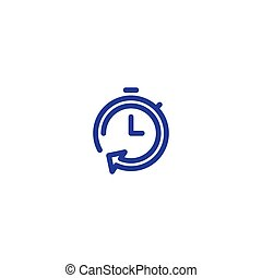 Time clock line icon set, fast delivery, quick service, ...