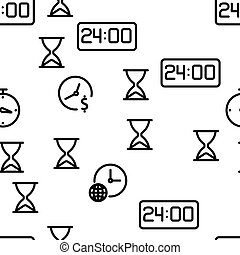 Time Clock Seamless Pattern Vector