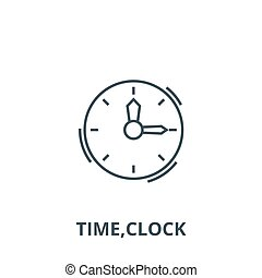 Time, clock vector line icon, linear concept, outline sign, symbol