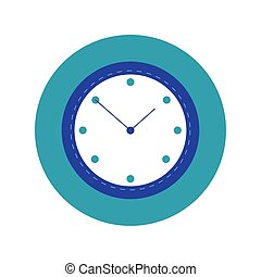 time clock watch block and flat style icon