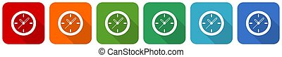 Time, clock, watch icon set, flat design vector illustration in 6 colors options for webdesign and mobile applications