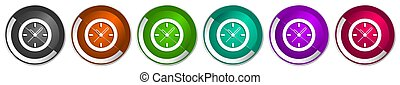 Time, clock, watch icon set, silver metallic chrome border vector web buttons in 6 colors options for webdesign