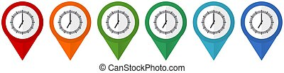 Time, clock, watch vector pointers, set of colorful flat design icons isolated on white background