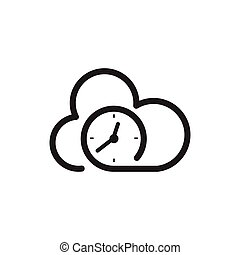 time clock with cloud logo icon vector template
