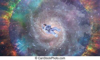 time., coloré, espace, par, astronaute, beau, éternité