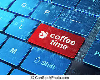 Time concept: Alarm Clock and Coffee Time on computer keyboard background