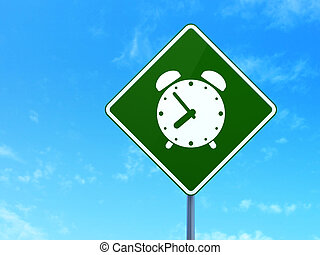 Time concept: Alarm Clock on road sign background