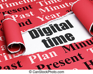 Time concept: black text Digital Time under the piece of  torn paper