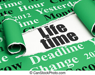 Time concept: black text Life Time under the piece of  torn paper