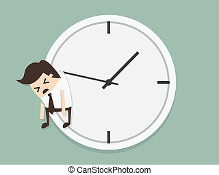 time concept - Businessman hangs on an arrow of clock