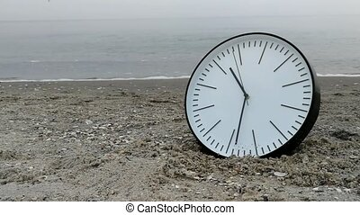 Time Concept, Clock in Sand Beach, Sea Sky Background