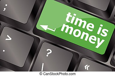 Time concept: computer keyboard with word Time is Money. Keyboard keys icon button vector