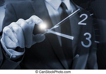 Time concept - Cropped view of businessman hand navigating ...