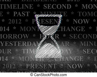 Time concept: Hourglass in grunge dark room