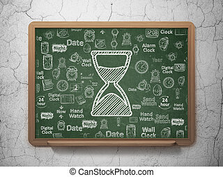 Time concept: Hourglass on School board background