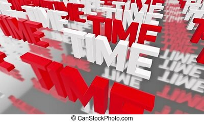 Time concept in red and white colors
