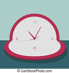 Time concept, morphing clock. Isolated on blue background.