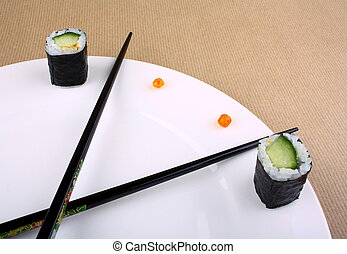Time Concept of sushi on white plate, close up