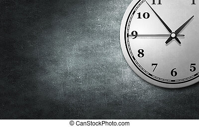 Time concept on cement wall