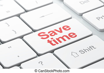 Time concept: Save Time on computer keyboard background