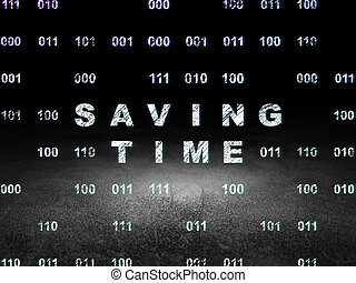 Time concept: Saving Time in grunge dark room