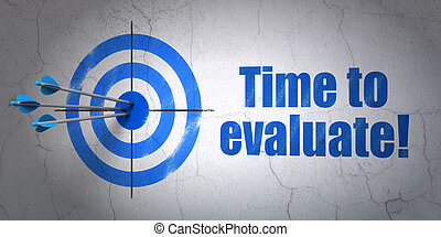 Time concept: target and Time to Evaluate! on wall background