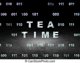 Time concept: Tea Time in grunge dark room