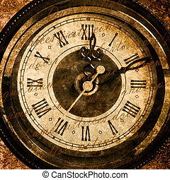 Time concept - vintage clock face with grunge texture and lod text
