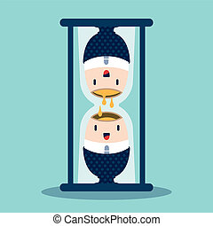 Time concept with a hourglass