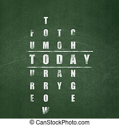 Time concept: word Today in solving Crossword Puzzle