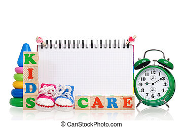 Time concept - Words kids care composed from wooden letter...