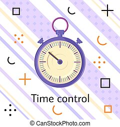 Time control banner with watch. Alarm clock fast speed quick time vector icon flat business illustration. Simple classic lilac round clock on white striped background with colorful geometric elements