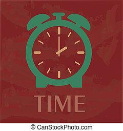 time design over red background vector illustration
