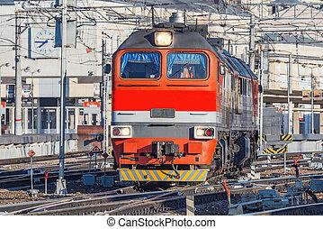 time., diesel, départ, matin, locomotive