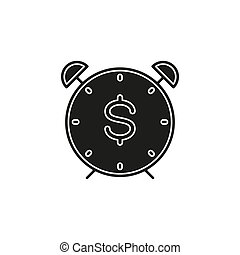 time dollar icon, time for money concept. vector dollar sign